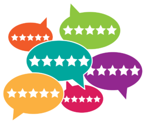 speech bubbles with star ratings - customer reviews
