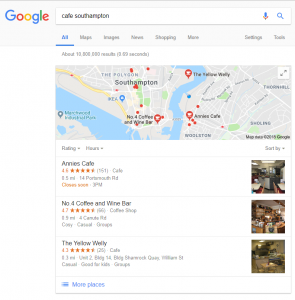 google search results for cafe southampton