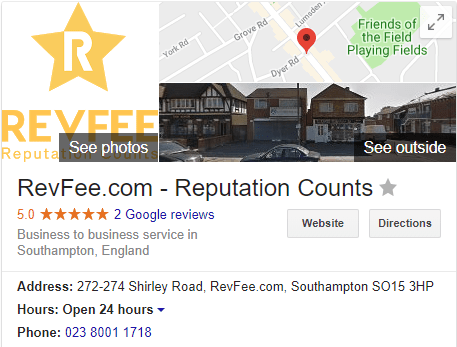 Google My Business profile for RevFee
